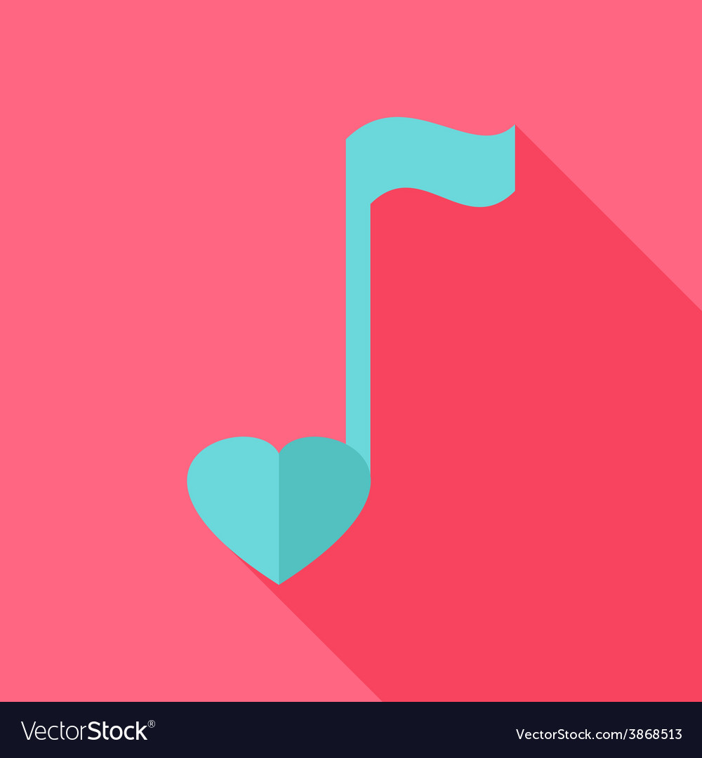 Sheet music with heart vector | Price: 1 Credit (USD $1)