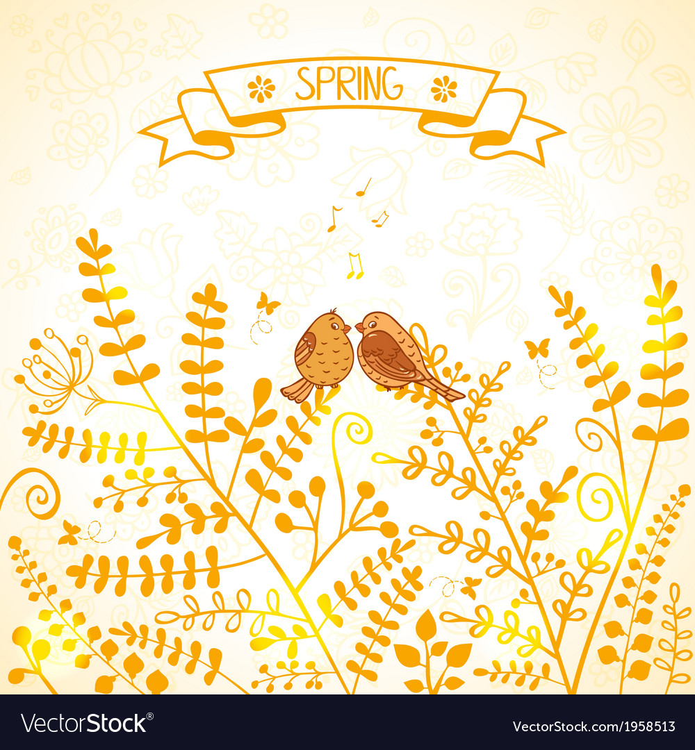 Spring bird vector | Price: 1 Credit (USD $1)