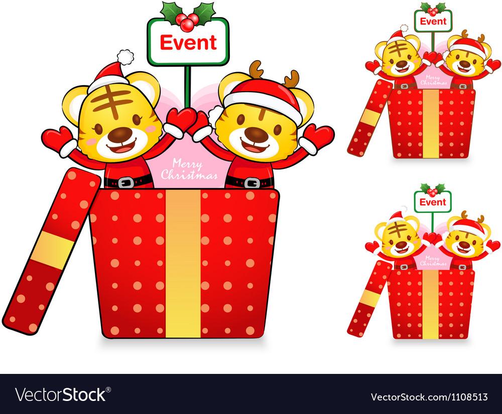 Tiger santa claus and deer mascot vector | Price: 1 Credit (USD $1)