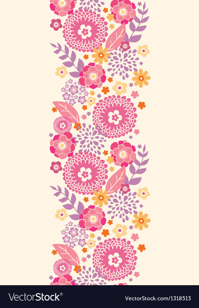 Warm summer plants vertical seamless pattern vector | Price: 1 Credit (USD $1)