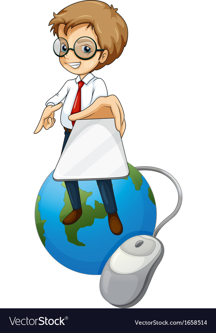 A man standing above the globe holding a cellphone vector | Price: 3 Credit (USD $3)