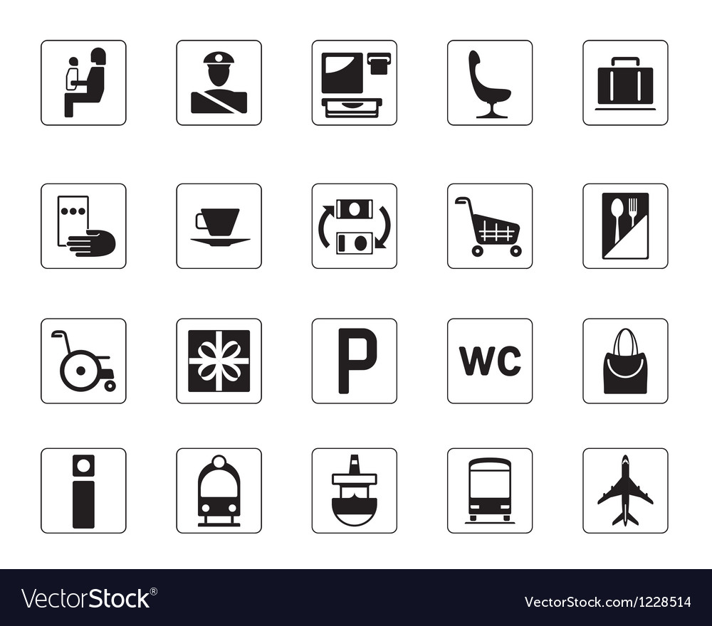 Airport bus station and railway station icons set vector | Price: 1 Credit (USD $1)