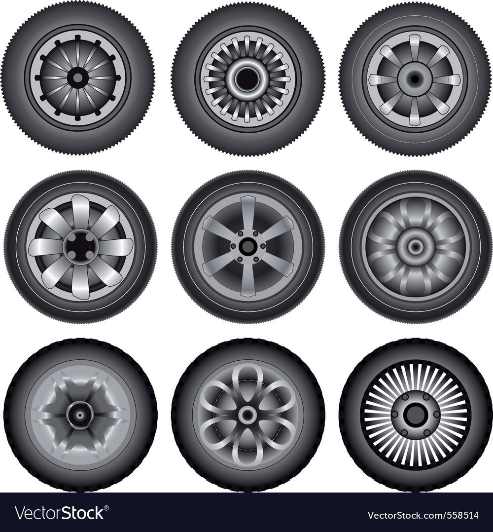 Automobile wheels vector | Price: 1 Credit (USD $1)