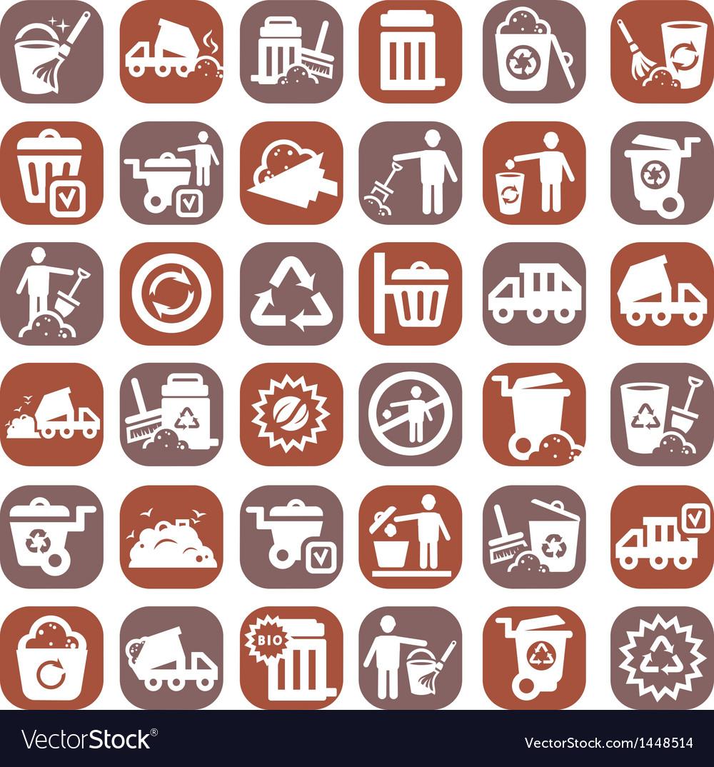 Big color garbage icons vector | Price: 1 Credit (USD $1)