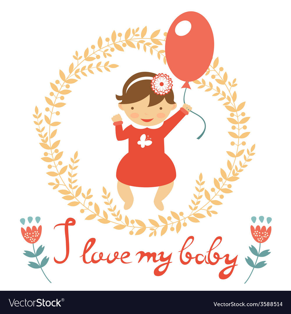 Cute baby girl with balloon vector | Price: 1 Credit (USD $1)
