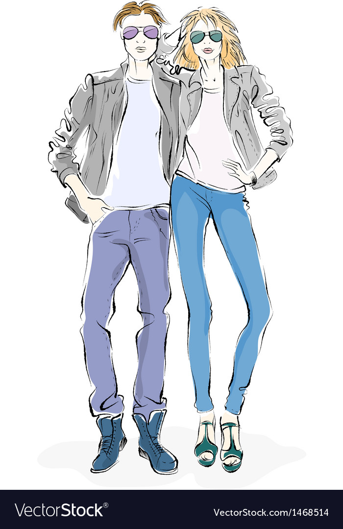 Fashionable man and woman vector | Price: 1 Credit (USD $1)