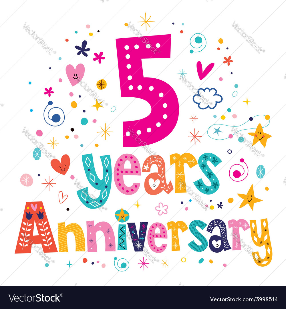 Five years anniversary celebration decorative vector | Price: 1 Credit (USD $1)