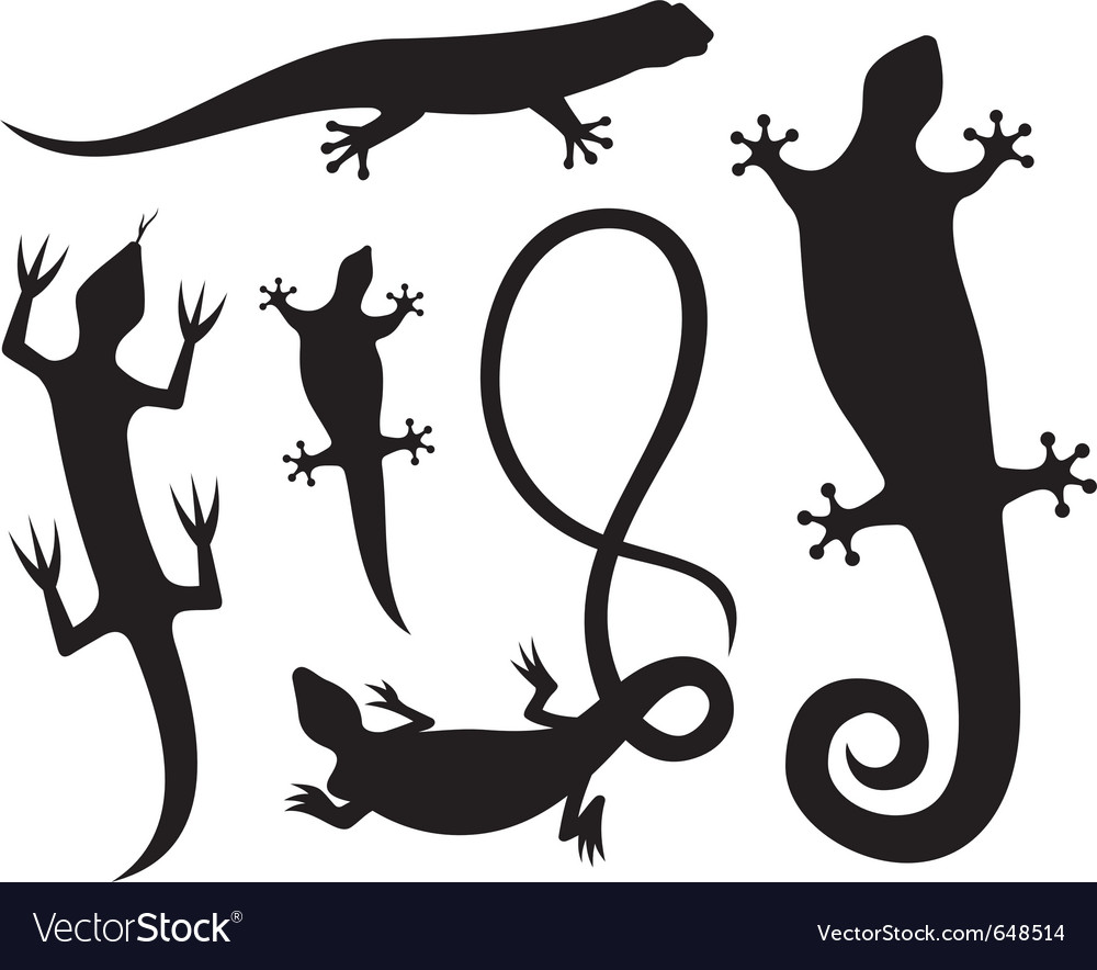 Lizard silhouettes vector | Price: 1 Credit (USD $1)