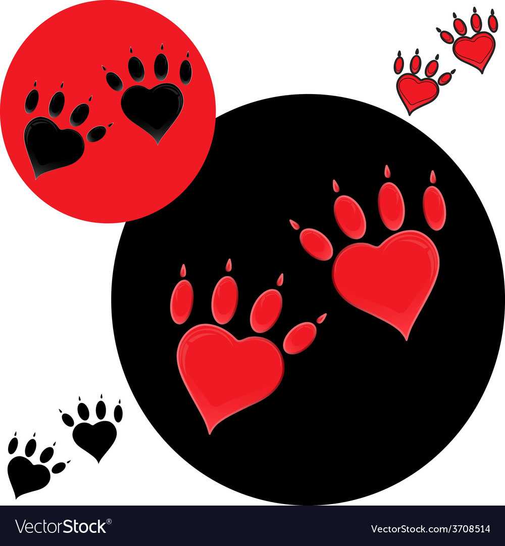 Pet heart logo dog paw logo zoo shop vector | Price: 1 Credit (USD $1)