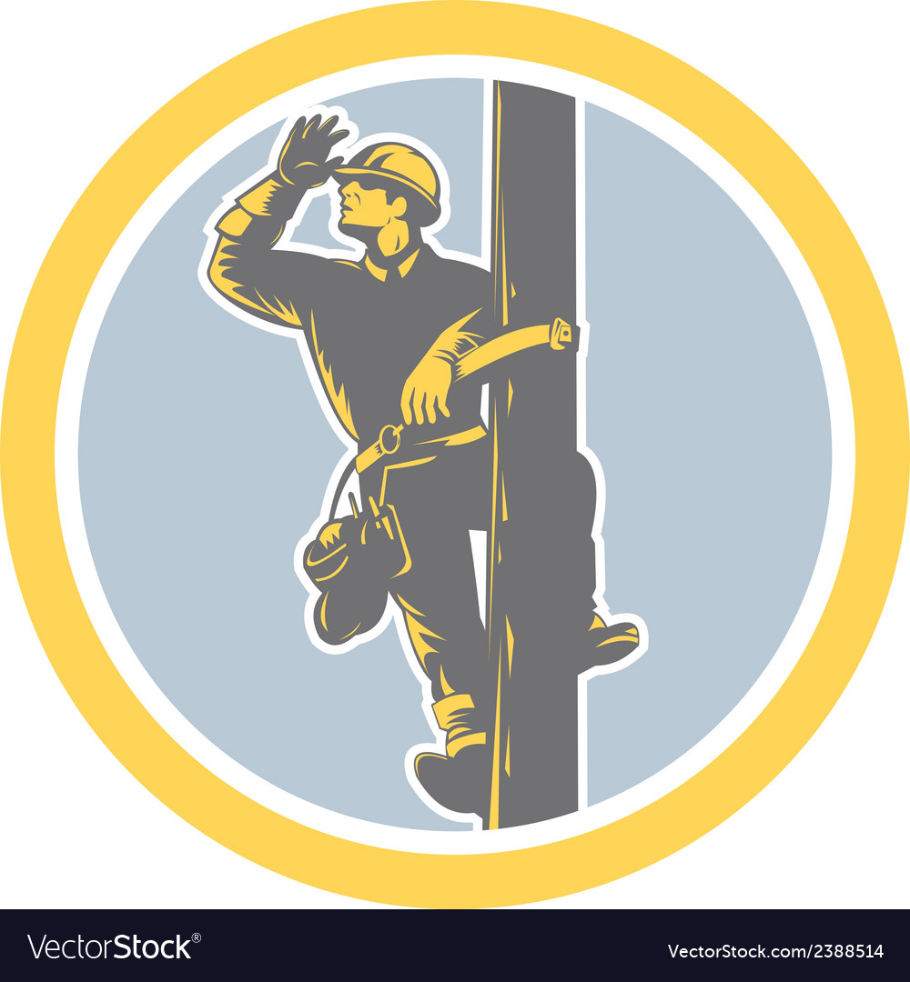 Power lineman telephone repairman looking saluting vector | Price: 1 Credit (USD $1)