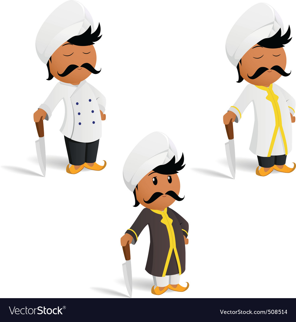 Set of cartoon indian cook chef with moustache vector | Price: 1 Credit (USD $1)
