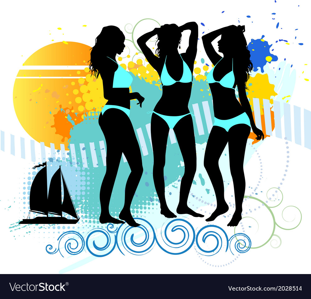 Several girls are dancing on the beach vector | Price: 1 Credit (USD $1)
