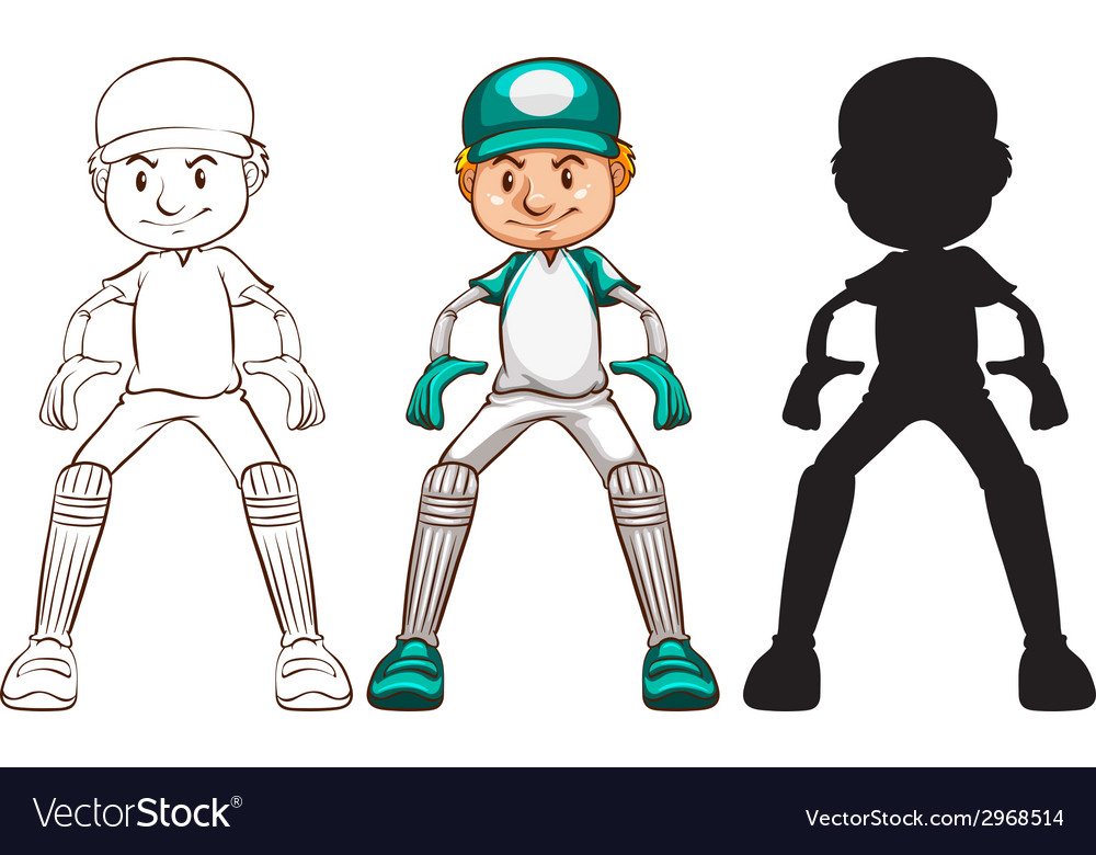 Sketches of a cricket player in different colours vector | Price: 1 Credit (USD $1)