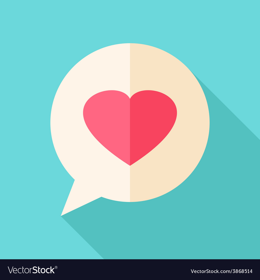 Speech bubble with heart vector | Price: 1 Credit (USD $1)
