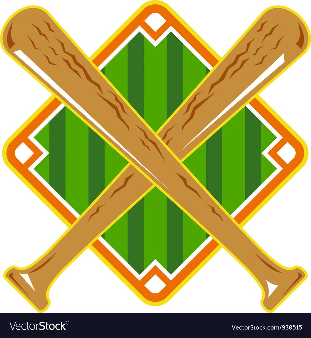 Baseball diamond crossed bat retro vector | Price: 1 Credit (USD $1)