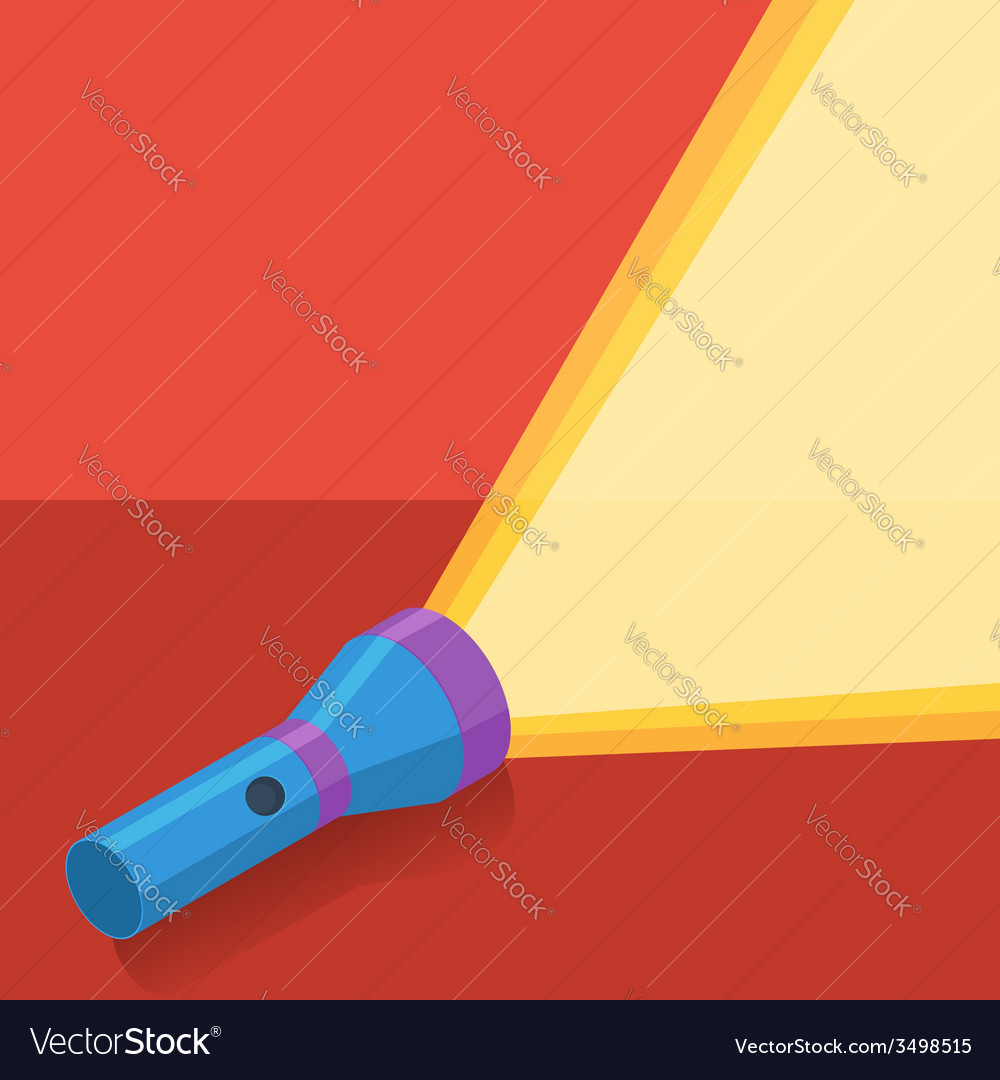 Blue flashlight in flat style on red background vector | Price: 1 Credit (USD $1)