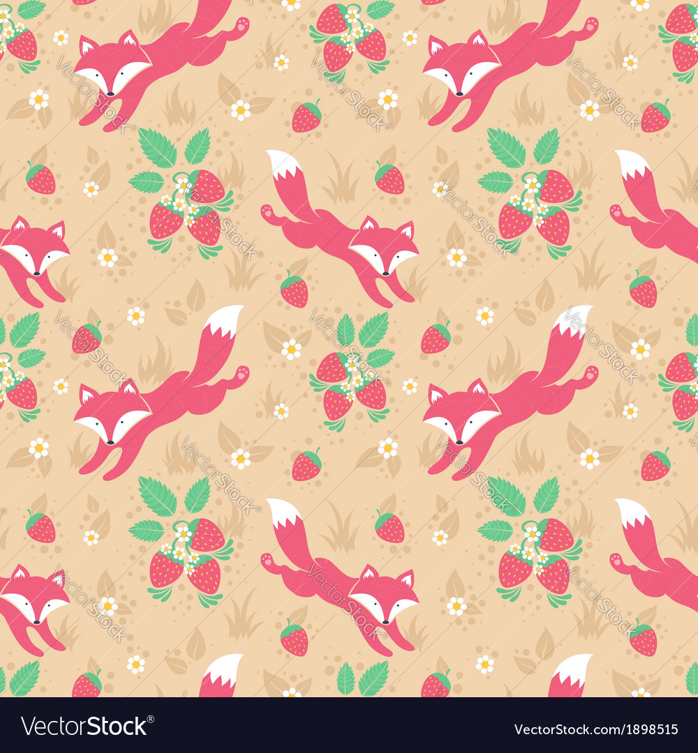 Cute foxes and strawberries seamless pattern vector | Price: 1 Credit (USD $1)