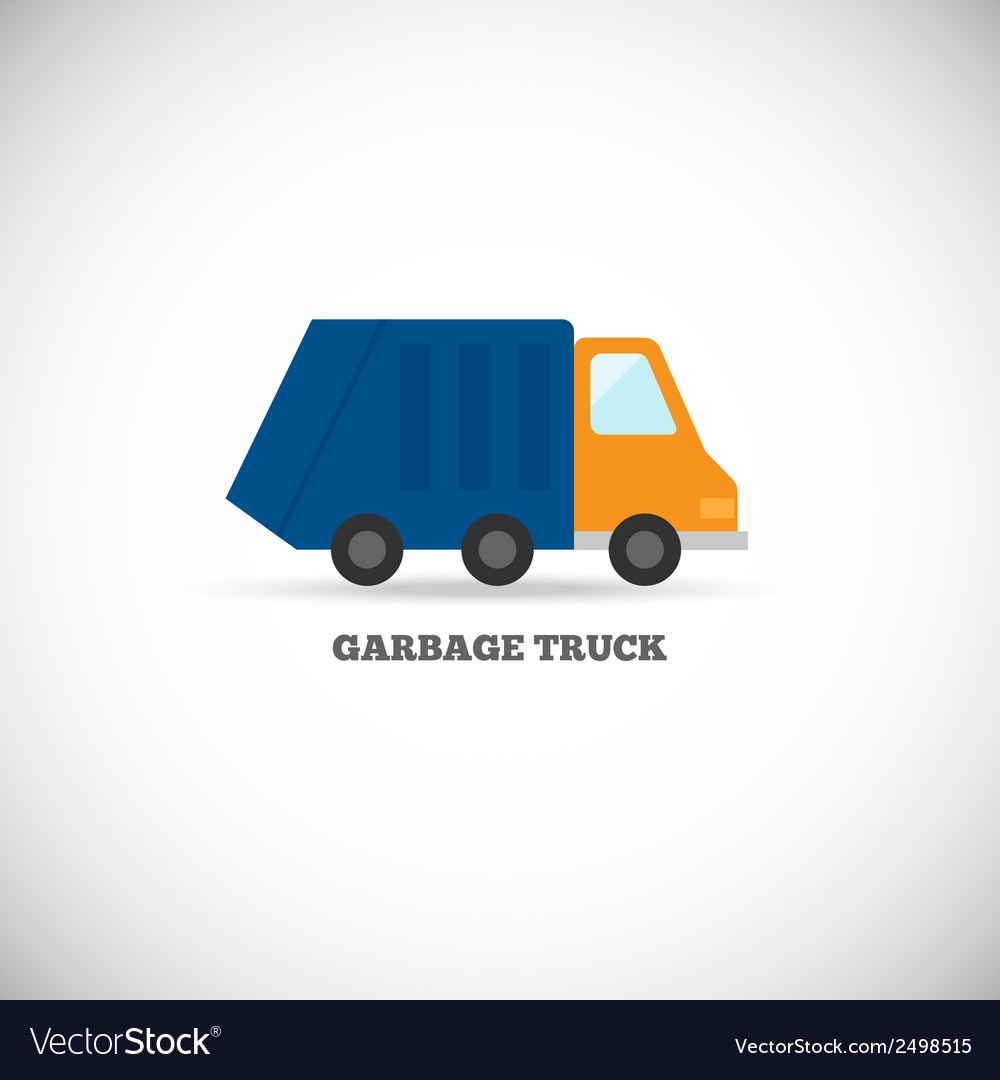 Garbage truck isolated vector | Price: 1 Credit (USD $1)