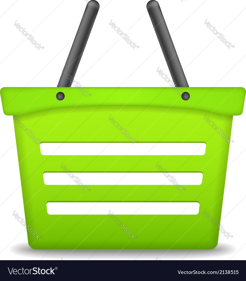Green shopping basket vector | Price: 1 Credit (USD $1)