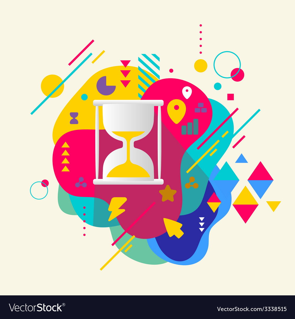 Hourglass on abstract colorful spotted background vector | Price: 3 Credit (USD $3)
