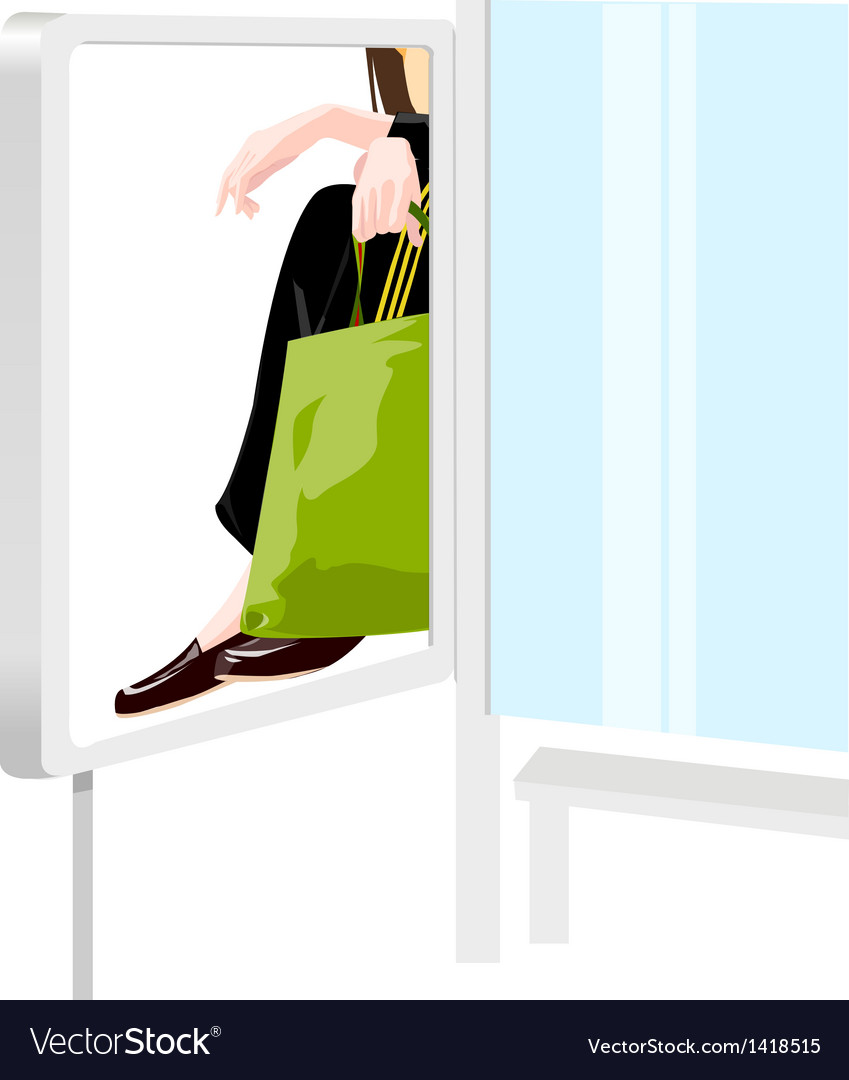 Person with shopping bag vector | Price: 1 Credit (USD $1)