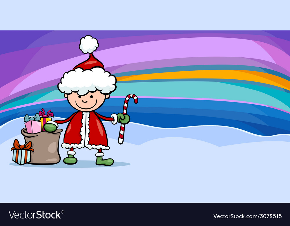 Santa claus boy cartoon greeting card vector | Price: 1 Credit (USD $1)