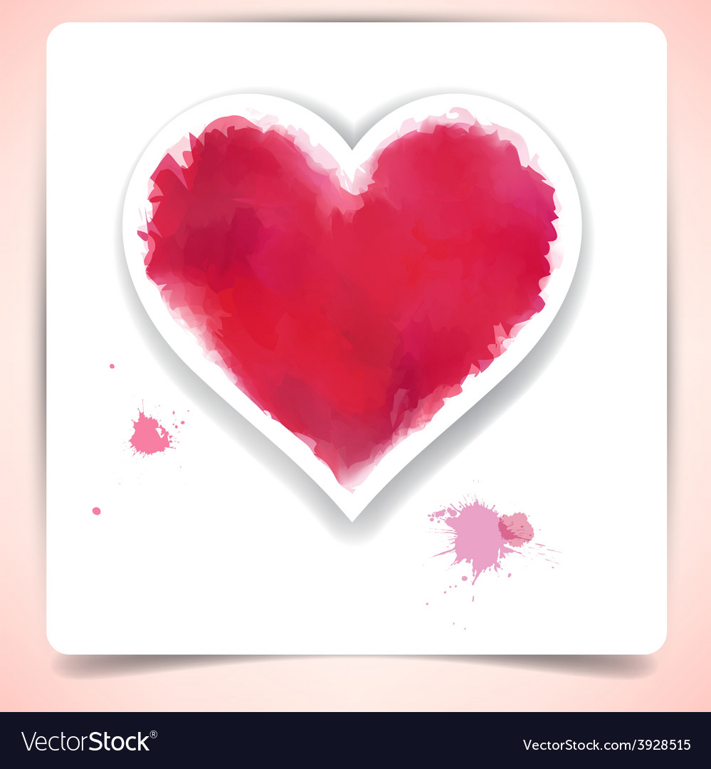 Watercolor heart over paper sheet vector | Price: 1 Credit (USD $1)