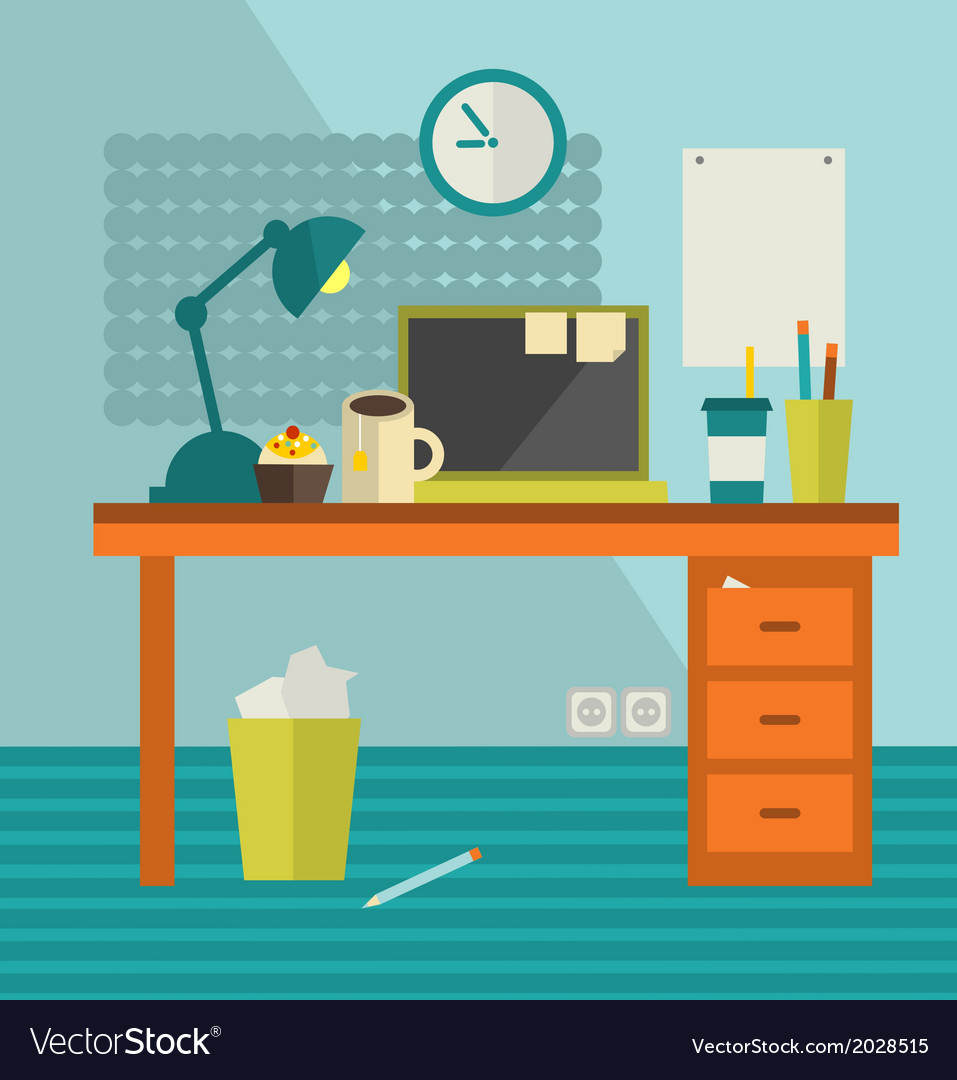 Work place with banner on the wall vector | Price: 1 Credit (USD $1)