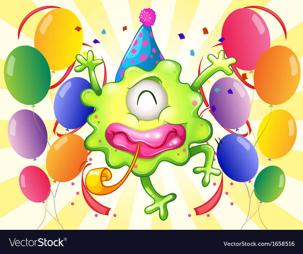 A happy monster in the middle of the balloons vector | Price: 3 Credit (USD $3)