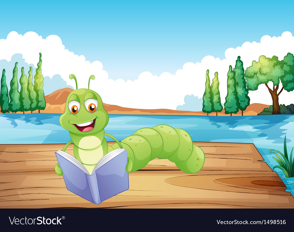 A worm reading a book vector | Price: 1 Credit (USD $1)