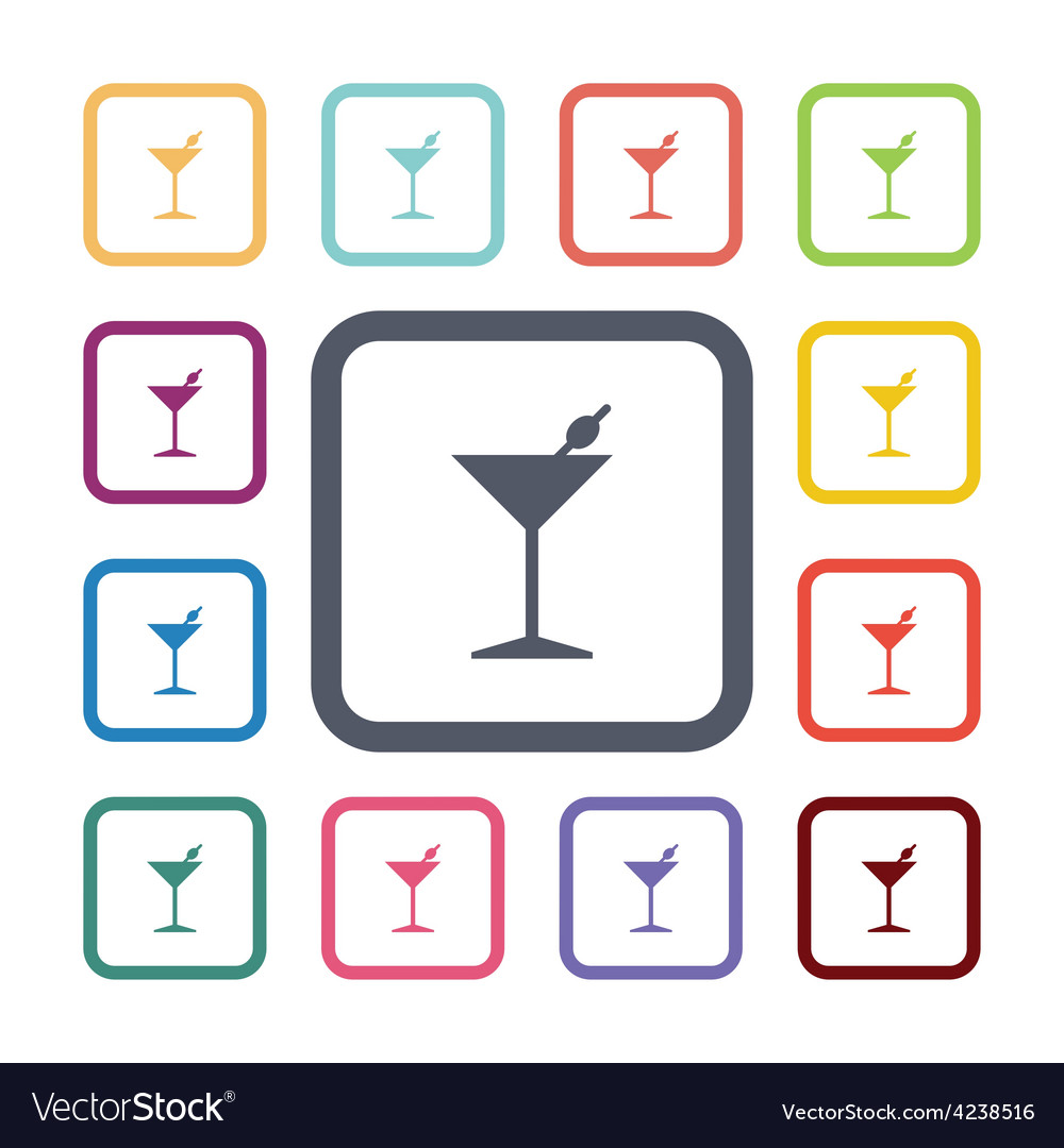 Cocktail flat icons set vector | Price: 1 Credit (USD $1)