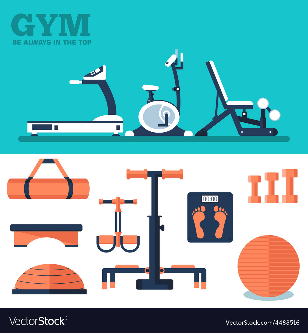 Fitness sport gym exercise equipment workout flat vector | Price: 1 Credit (USD $1)