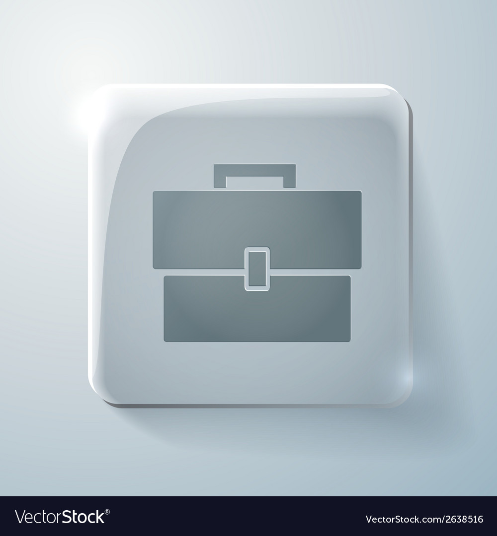 Glass square icon with highlights briefcase vector | Price: 1 Credit (USD $1)