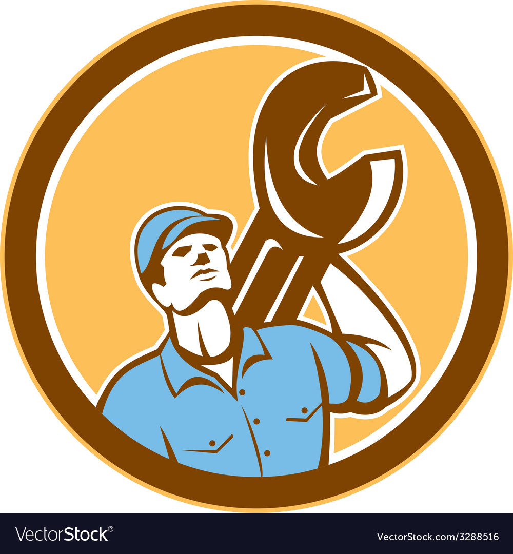 Mechanic spanner wrench looking up retro vector | Price: 1 Credit (USD $1)