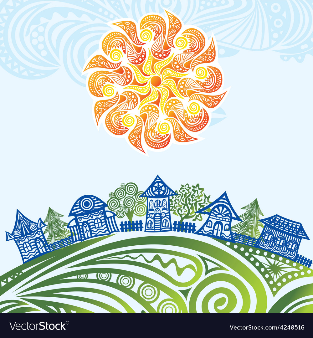 Nature pattern background sun houses trees vector | Price: 1 Credit (USD $1)