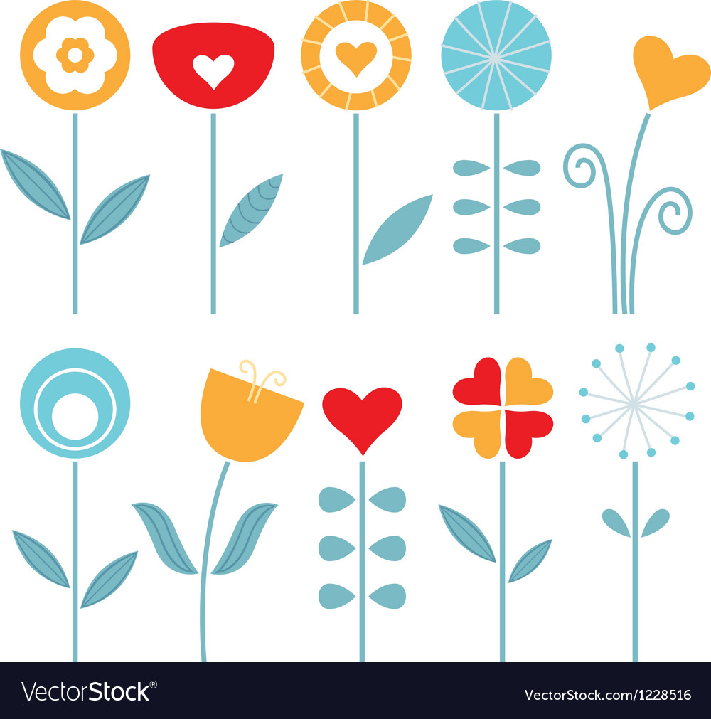 Retro spring flowers set isolated on white vector