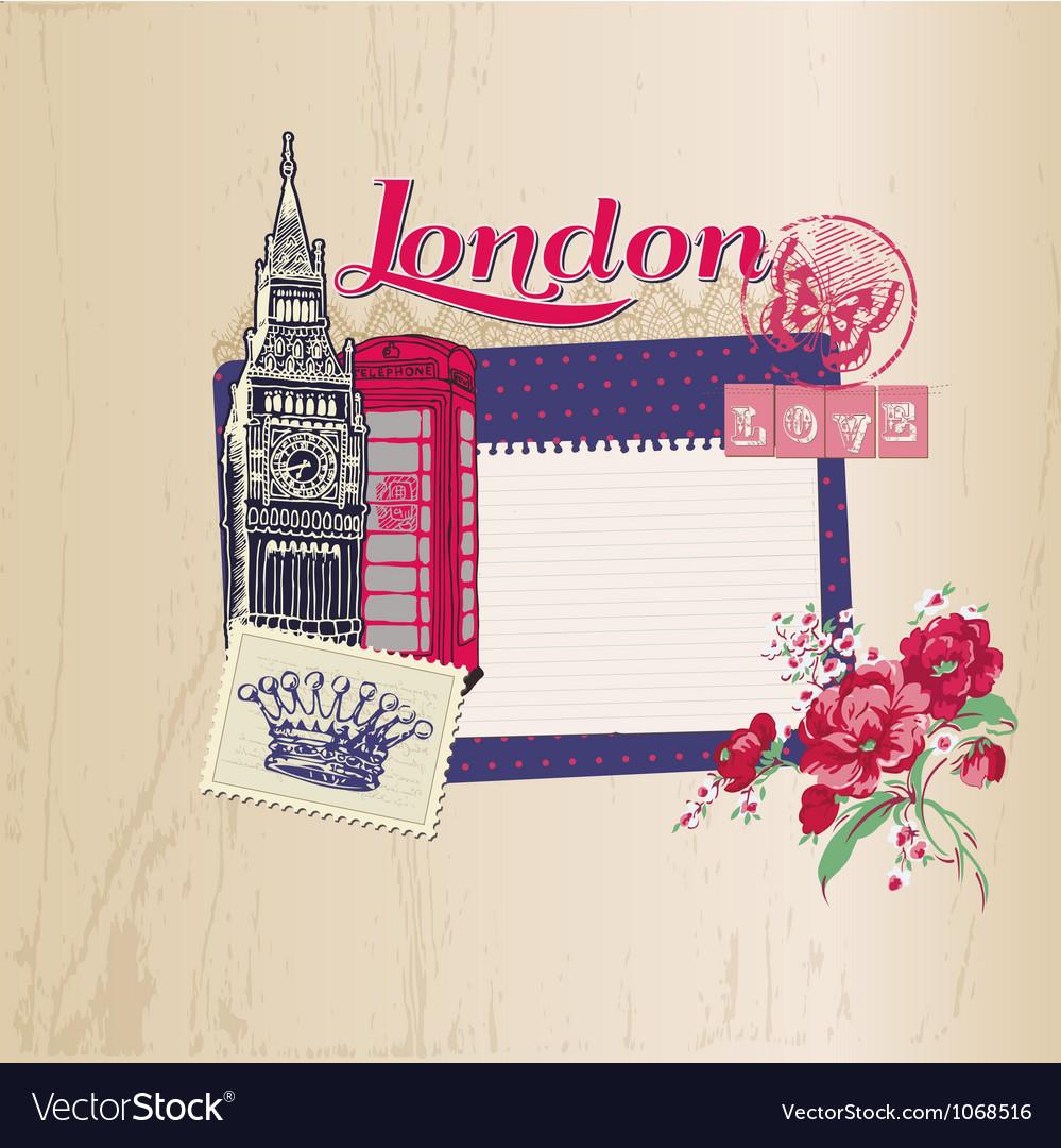Scrapbook design elements - london vintage card vector | Price: 1 Credit (USD $1)