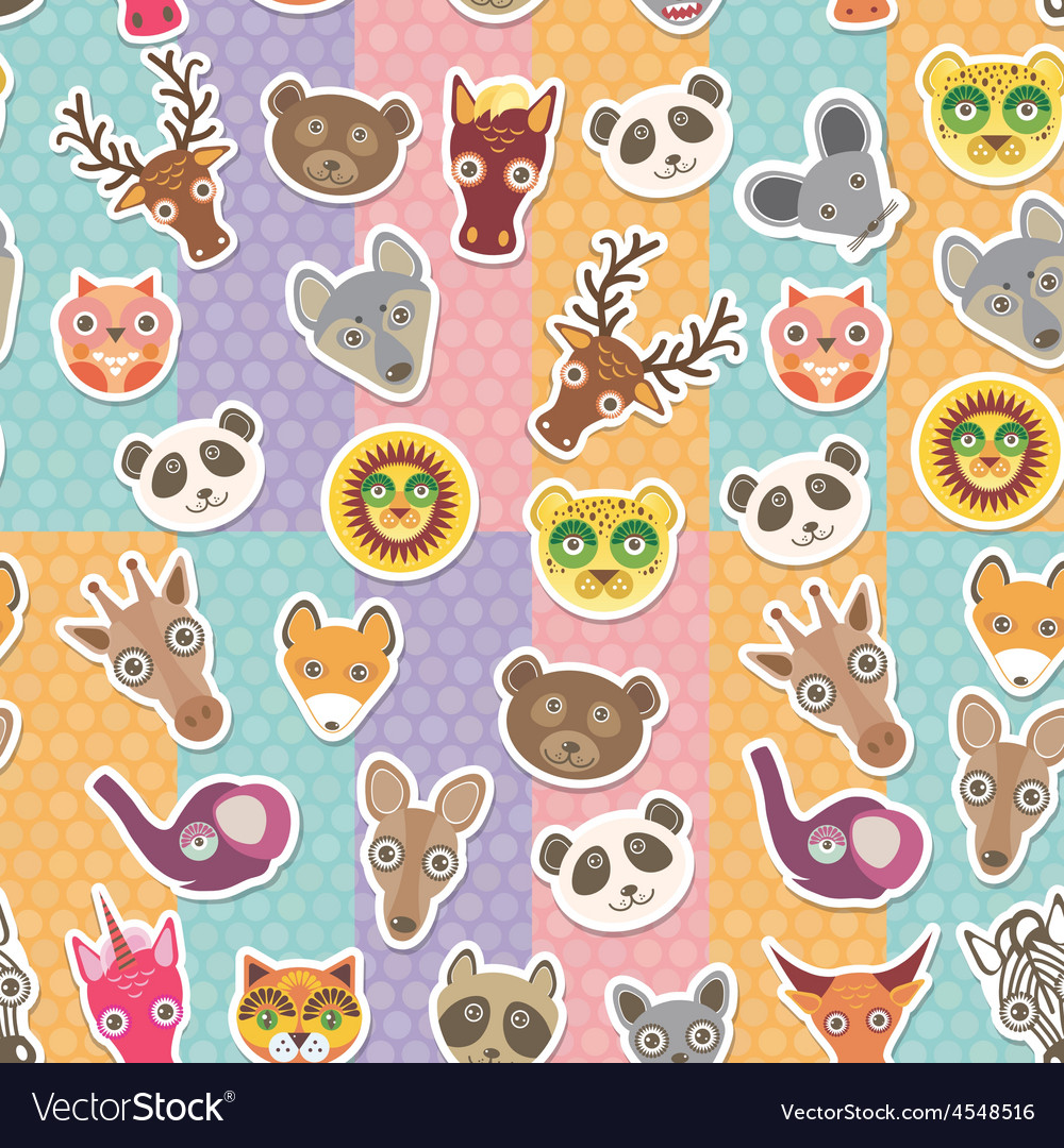 Set of funny animals muzzle seamless pattern vector | Price: 1 Credit (USD $1)