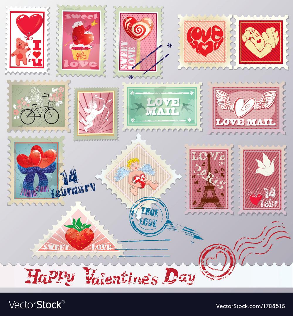 Set of vintage post stamps vector | Price: 1 Credit (USD $1)