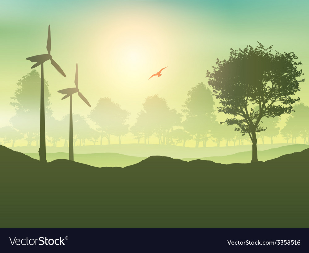 Wind turbines and tree landscape vector | Price: 1 Credit (USD $1)
