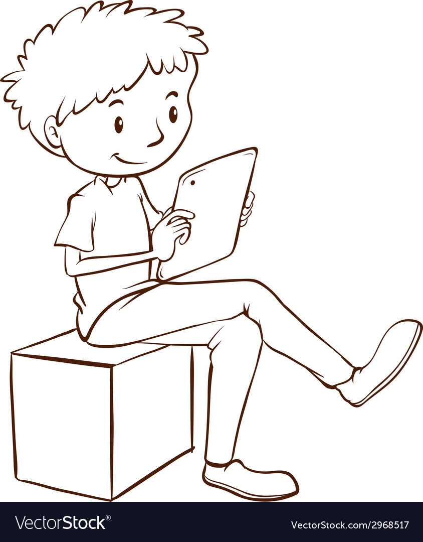 A simple sketch of a boy using a mobile vector | Price: 1 Credit (USD $1)