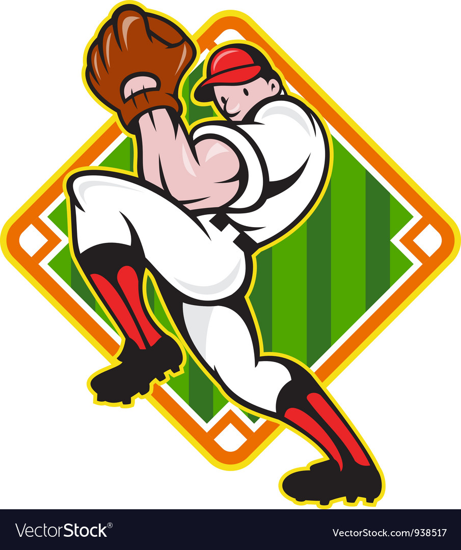 Baseball pitcher player pitching diamond vector | Price: 3 Credit (USD $3)