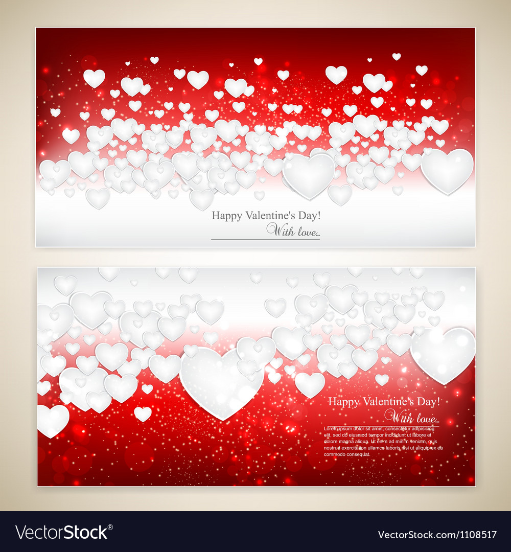 Beautiful greeting cards with white paper hearts vector | Price: 1 Credit (USD $1)