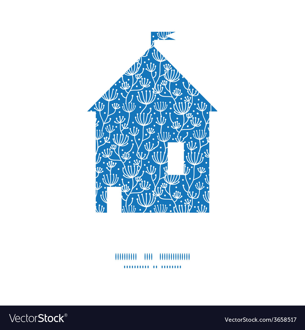 Blue white lineart plants house silhouette pattern vector | Price: 1 Credit (USD $1)