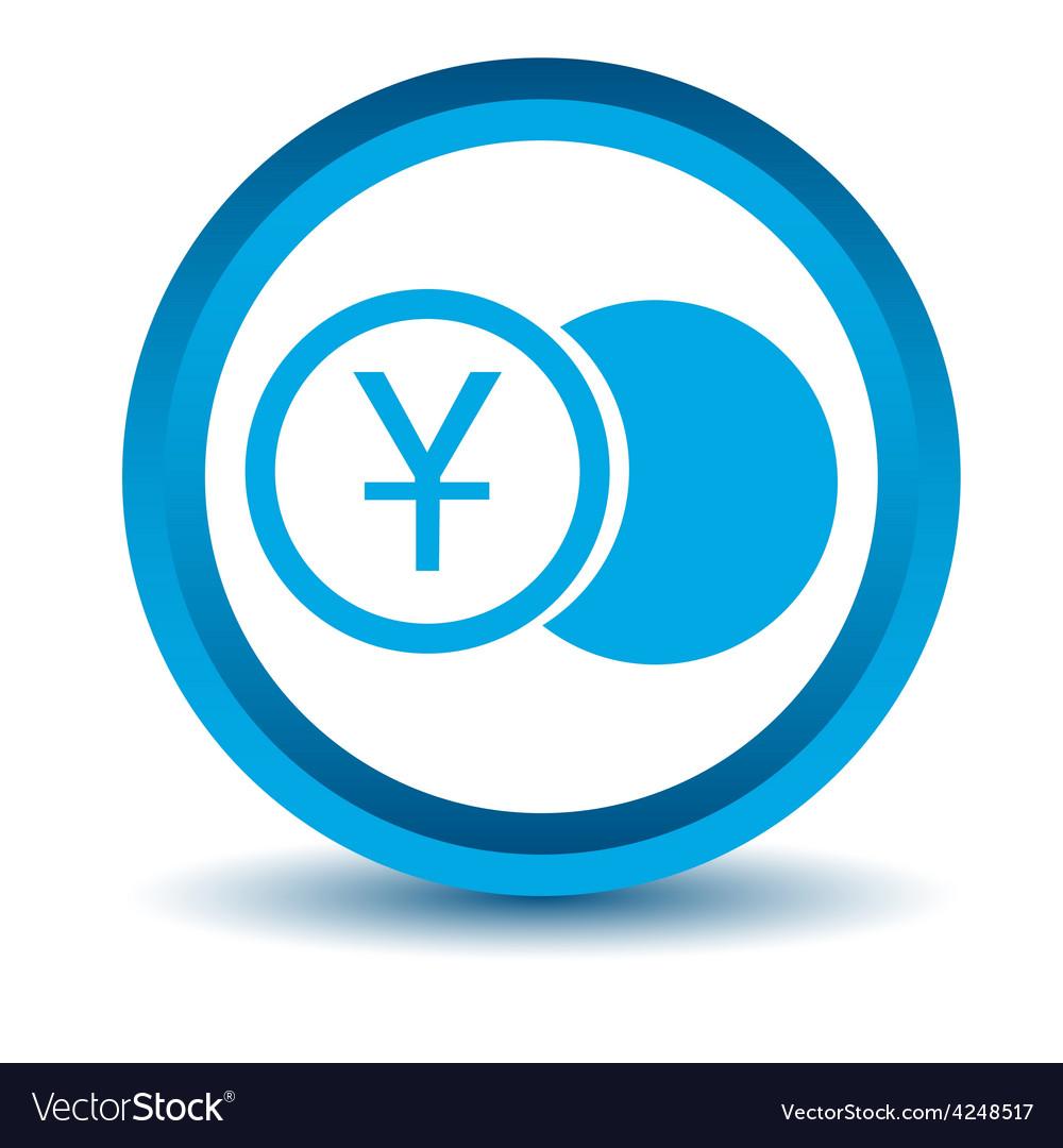 Blue yen coin icon vector | Price: 1 Credit (USD $1)
