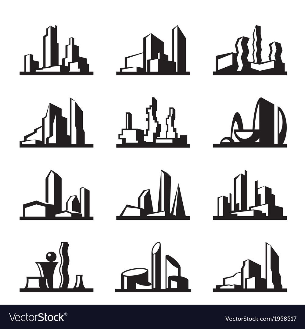 Modern buildings set vector | Price: 1 Credit (USD $1)
