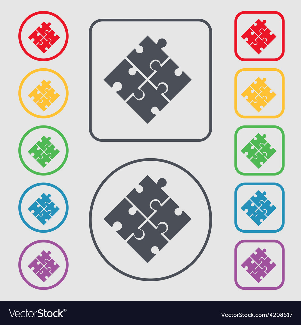 Puzzle piece icon sign symbol on the round and vector   Price: 1 Credit (USD $1)