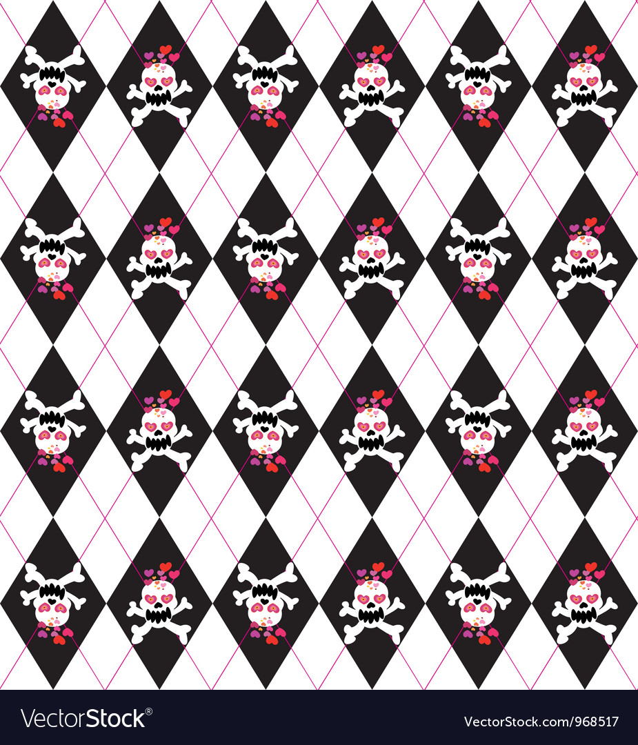 Seamless pattern with skulls vector   Price: 1 Credit (USD $1)