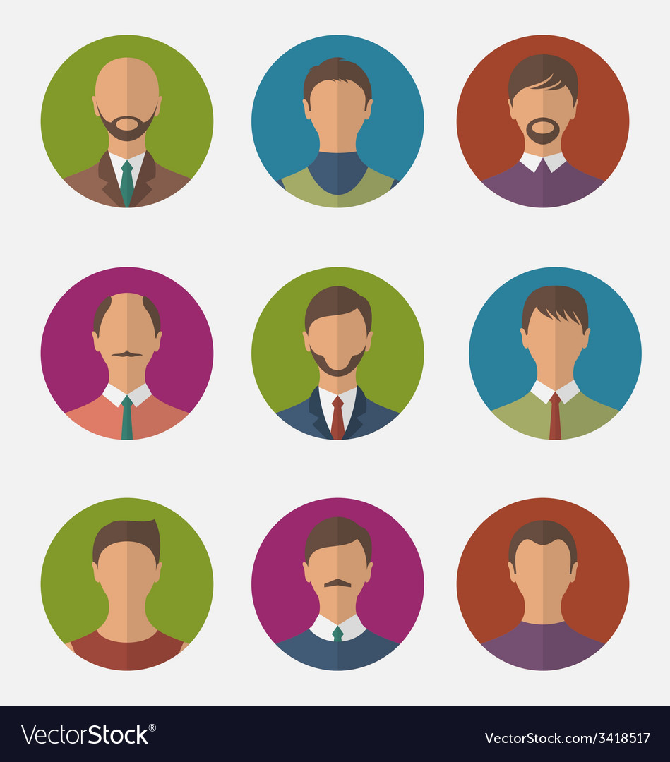 Set colorful male faces circle icons trendy flat vector | Price: 1 Credit (USD $1)