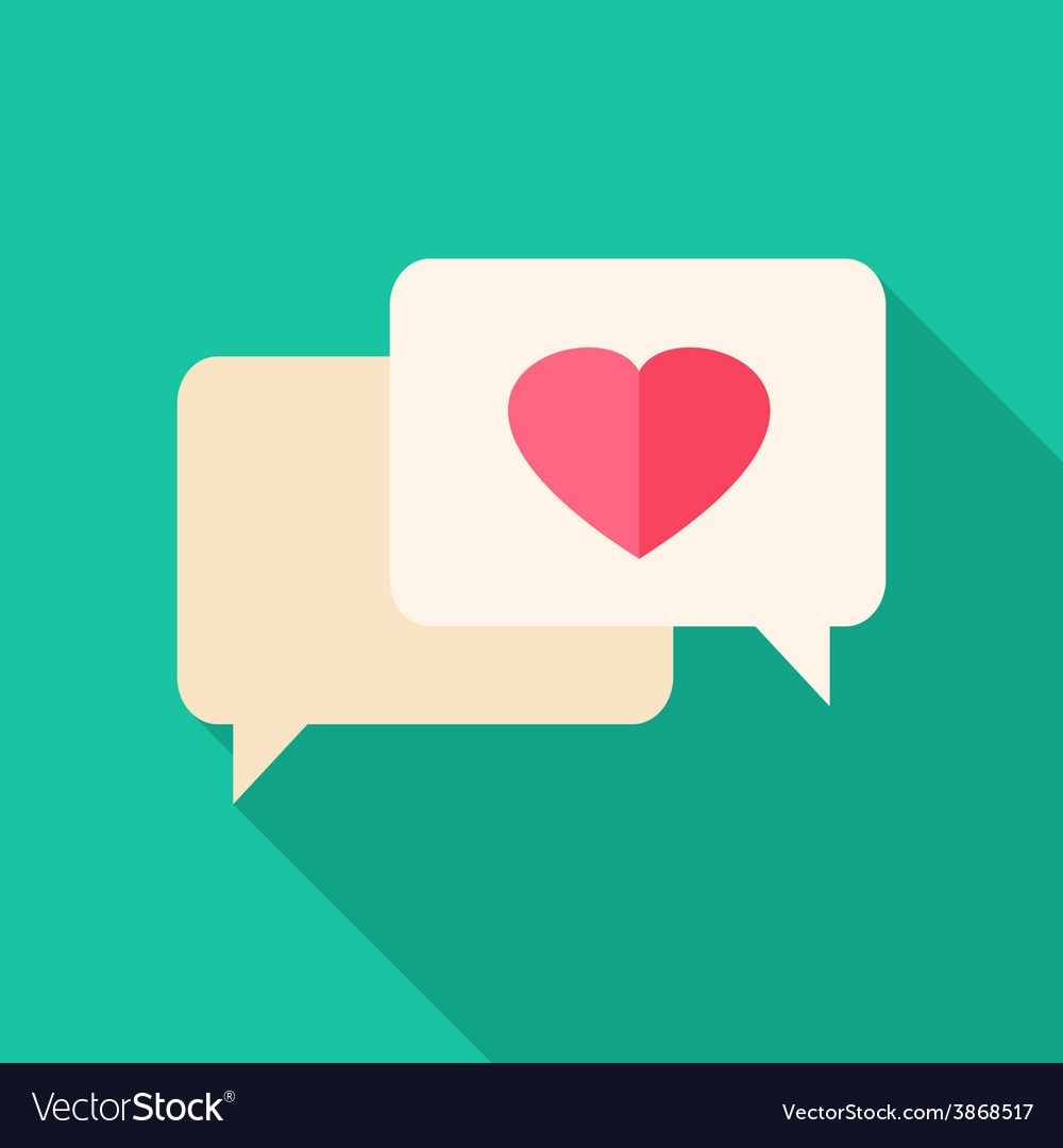 Speech bubbles with heart vector | Price: 1 Credit (USD $1)